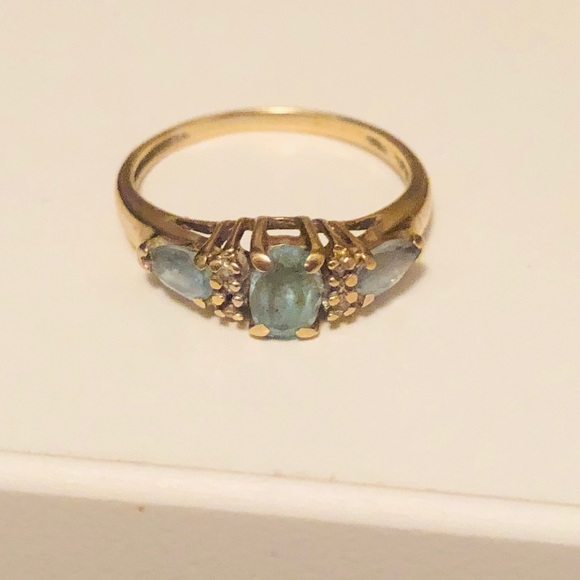 Jewelry - 10K Gold & Diamond Aquamarine birthstone